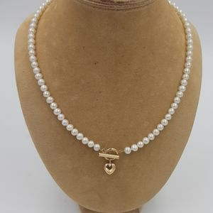 14k Gold Genuine Pearl Necklace